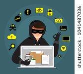 flat design concept hacker...   Shutterstock .eps vector #1041487036