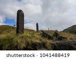 monoliths near cherrapunjee town | Shutterstock . vector #1041488419
