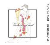 wedding card cartoon hand draw...   Shutterstock .eps vector #1041497149