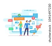 online news  newspaper  news... | Shutterstock .eps vector #1041497230