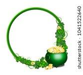 patrick day round green frame... | Shutterstock .eps vector #1041522640