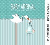 baby arrival card  | Shutterstock .eps vector #1041524383