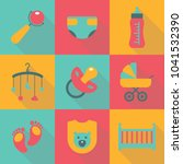 set of baby flat icons with... | Shutterstock .eps vector #1041532390