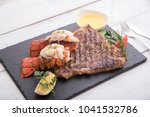 grilled lobster tail and t bone ... | Shutterstock . vector #1041532786
