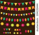 vector bunting and garland set... | Shutterstock .eps vector #104153444