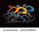 bicycle race. stylized drawing... | Shutterstock .eps vector #1041538090