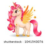 3d pony unicorn with big eyes... | Shutterstock .eps vector #1041543076