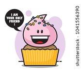 cartoon cupcake character.... | Shutterstock .eps vector #1041556390
