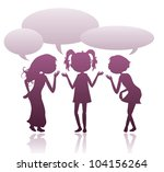 girls silhouettes talking with... | Shutterstock .eps vector #104156264