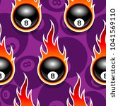 seamless pattern with billiards ... | Shutterstock .eps vector #1041569110