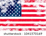 usa flag snowflake background | Shutterstock . vector #1041570169