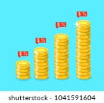 stack of golden coins with... | Shutterstock .eps vector #1041591604
