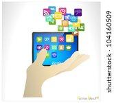 business man holding the modern ... | Shutterstock .eps vector #104160509