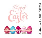 easter pink eggs and ribbon | Shutterstock .eps vector #1041609904