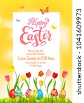 yellow poster holiday easter | Shutterstock .eps vector #1041609973