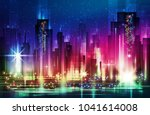 night city illustration with... | Shutterstock .eps vector #1041614008