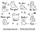 Stock vector hand drawn funny cats illustration drawing by ink brush pen simple doodle sketch style cute cat 1041623218
