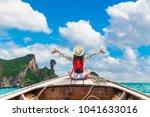summer lifestyle traveler woman ... | Shutterstock . vector #1041633016