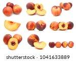 Ripe Peaches On A White...