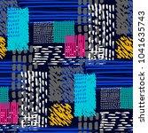 memphis seamless  pattern in... | Shutterstock .eps vector #1041635743
