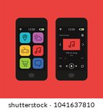 smartphone with a music app... | Shutterstock .eps vector #1041637810