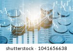 market trading graph and coins | Shutterstock . vector #1041656638