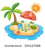 illustration of a turtle on an... | Shutterstock . vector #104167088