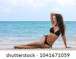 Attractive Woman Black Bikini Perfect - Fine Art prints