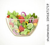 green salad of fresh vegetables ... | Shutterstock .eps vector #1041671719