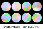 holographic round frames set....   Shutterstock .eps vector #1041682243