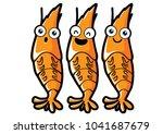 orange cartoon shrimp smile and ... | Shutterstock .eps vector #1041687679