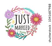 quote floral bouquet vector... | Shutterstock .eps vector #1041687988