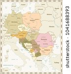 Central Europe Map Retro Colors. Vector illustration.
