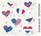 flags in heart shapes and... | Shutterstock .eps vector #104169344