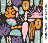 contemporary exotic jungle... | Shutterstock .eps vector #1041695488