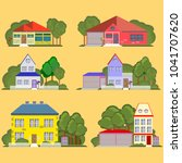 set of colorful residential... | Shutterstock .eps vector #1041707620