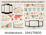 retro vector set of infographic ...