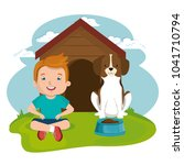 boy with dog character | Shutterstock .eps vector #1041710794