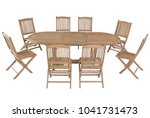 teak oval table with chairs...   Shutterstock . vector #1041731473
