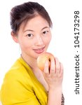 young beautiful girl with apple - stock photo