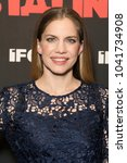 Small photo of New York, NY - March 8, 2018: Anna Chlumsky wearing dress by Cynthia Rowley attends New York premiere of IFC Film Death of Stalin at AMC Lincoln Square