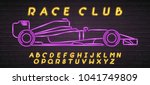 race car symbol neon light... | Shutterstock .eps vector #1041749809