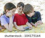 three children looking at the... | Shutterstock . vector #104175164