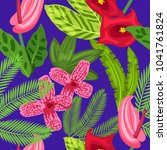 seamless tropical pattern with...   Shutterstock .eps vector #1041761824
