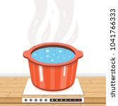 boiling water in pan. cooking... | Shutterstock .eps vector #1041766333