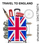travel bag open with england... | Shutterstock .eps vector #1041776074