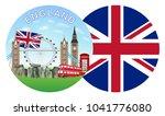 england flag and landmark round ... | Shutterstock .eps vector #1041776080