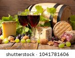 red wine and cheese | Shutterstock . vector #1041781606
