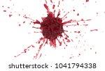 explosion of red liquid. 3d... | Shutterstock . vector #1041794338