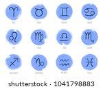 blue zodiac symbols vector set  ... | Shutterstock .eps vector #1041798883